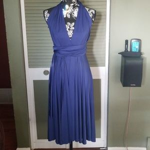 Versatile Electric Blue Halter Top Dress